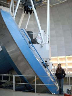 Graduate student Sara Barber on an observing run at the Kitt Peak National Observatory 4m Telescope near Tucson, AZ